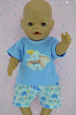 "Play n Wear Doll Clothes To Fit 17"" Baby Born ELEPHANT SHORTS~T-SHIRT"