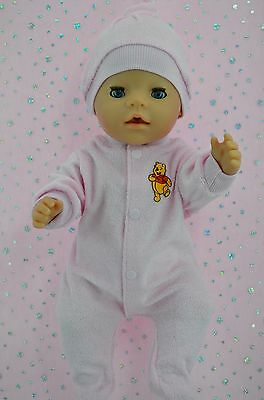 "Play n Wear Doll Clothes To Fit 17"" Baby Born PINK TOWELLING ONESIE~HAT"