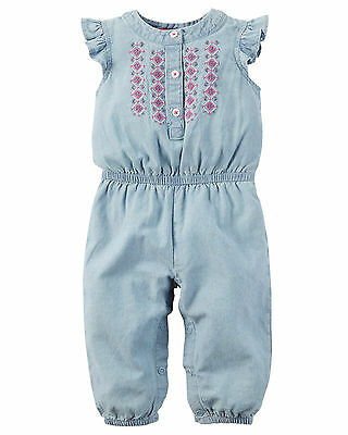Carters 3 6 9 12 18 24 Months Chambray Jumpsuit Romper Baby Girl Clothes