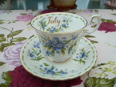 Royal Albert China Tea Cup & Saucer Flower Of The Month Forget Me Not July