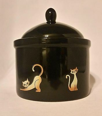 Vintage Cat Treat Cookie Jar Canister Lid Black Pottery Cat Kitten Whisker City
