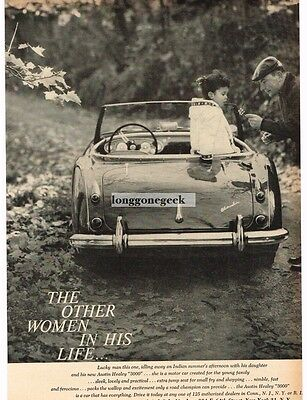 1959 AUSTIN HEALEY 3000 Father and Daughter in Woods VTG PRINT AD