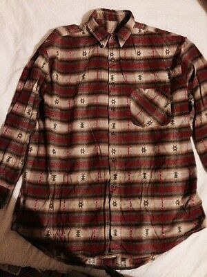 Native American Pattern Shirt Vintage Western Large