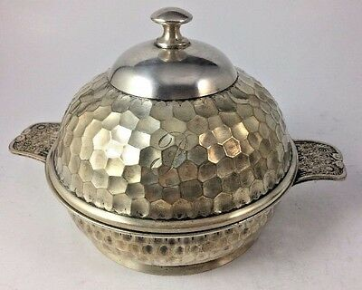 Vintage Plaza Hotel Reed And Barton Soldered Silver Honeycomb Butter Dish