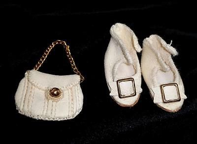 """Small Antique Doll Shoes ~ 1-1/4"""" Cream Kid Leather w/ Buckles & Matching Purse"""