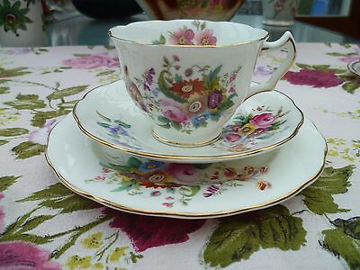 Lovey Coalport English China Trio Tea Cup Saucer Plate June time D Capey