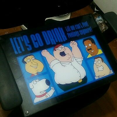 """Family Guy & Friends~Neon 13 x 18 light up Beer Bar Sign""""Lets Go Drink"""" RARE"""