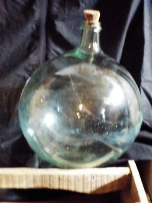 Antique French, Beautiful Hand Blown Green Glass Wine Carboy Demijohn Bottle.