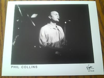 Very Rare Promo Real Photo B&W Print Phil Collins Live on Stage