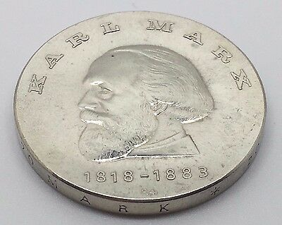 1968 East German 20 Mark Silver 150Th Anniversary Of Karl Marx Coin