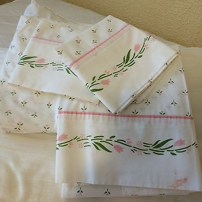 Vtg LAURA ASHLEY bed sheet set pink flowers 4pc TWIN flat fit cases COTTAGE CHIC
