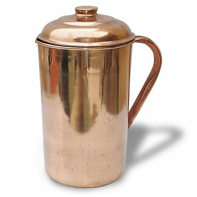 Pure Copper Jug (inside/ out) w/ Cover Water Pitcher 62 oz Ayurveda 100% New