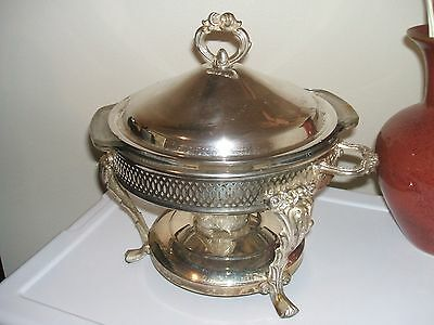 Vintage Ornate  Beautiful Silver Plated 4 Part  Chafing  Dish