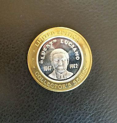""".999 Silver $10 Gaming Token ~ """"lucy Luciano"""" ~ Colorado Station"""