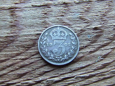 Edward Vii.  1902,  Silver Threepence.      Nice Condition.