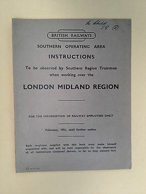 BR SR - Instructions to Southern Trainmen working over London Midland Region