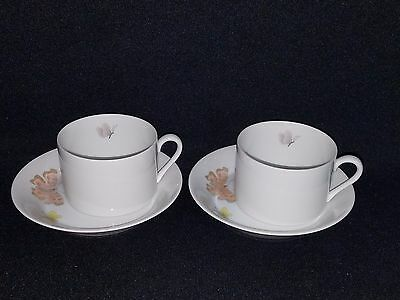 Fitz & Floyd PASTEL POPPY Cup & Saucer SET OF 2 PEACH