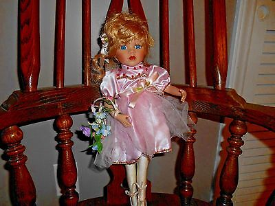 "18"" Bisque Porcelain Ballerina Doll Pink w/Flowers Blond Hair Blue Eyes"