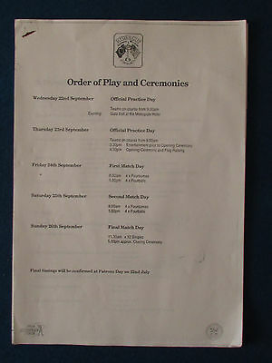 Ryder Cup 1993 - The Belfry - Order of Play and Ceremonies Paperwork