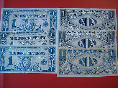 6 VINTAGE RETRO JOKE  / NOVELTY BANK NOTES FROM THE 1960s bank of never pay
