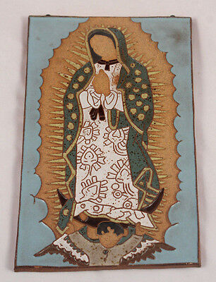 """Ceramic Hanging Tile of the """"Virgin of Guadalupe"""" Madonna  12 1/2""""x 7"""" Large!"""
