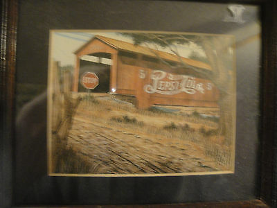Old Covered Bridge Print with Pepsi-Cola Advertisment PICTURE 6 X 7 WOOD FRAME