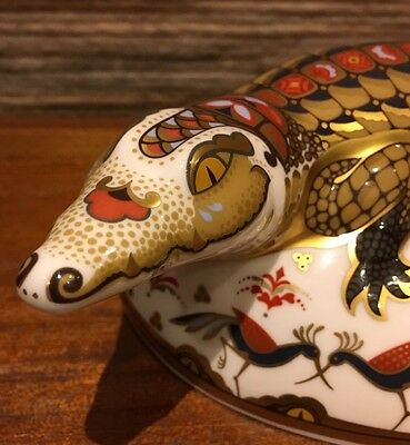 Royal Crown Derby Crocodile Paperweight With Box