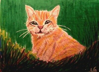 ACEO Original Art  Orange Kitty in the Green Grass  by LGarcia