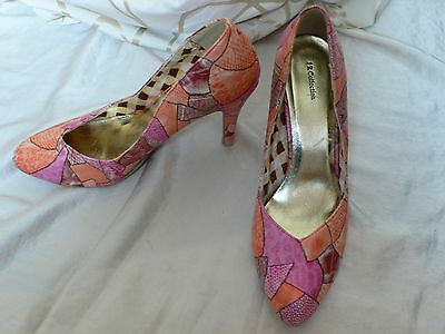 Patchwork Court Shoes Pumps Size 6 Very 1950's Vintage Style