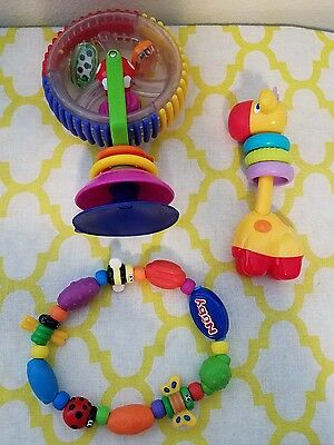 Mixed Lot Unisex Baby Toys Nuby Teether Giraffe Rattle Table Top Spinner EUC