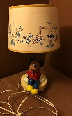 Vintage Walt Disney Productions Mickey Mouse Lamp with Shade WORKS!