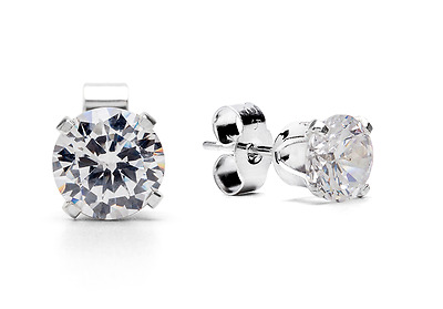 CZ Sterling Silver Stud Earrings - Select Colour