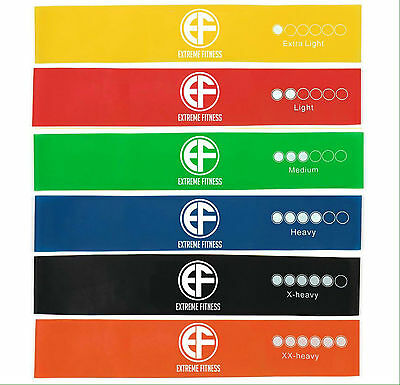 Set of 6 Resistance Loop Bands Exercise Crossfit Strength Fitness Toning Physio