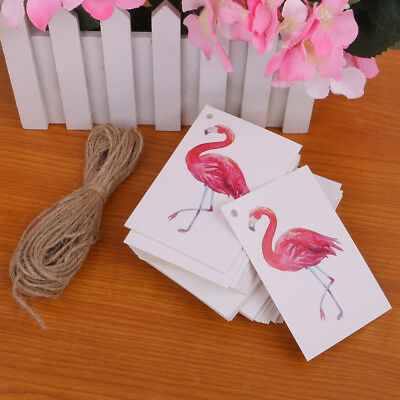 Lot of 100 Flamingo Paper Tags Wedding Party Favor Label Gift Hanging Cards