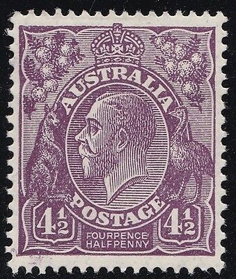 Stamps Australia - KGV 4½d Violet WM Small Mutiple - Perf 13½x12½. MH.