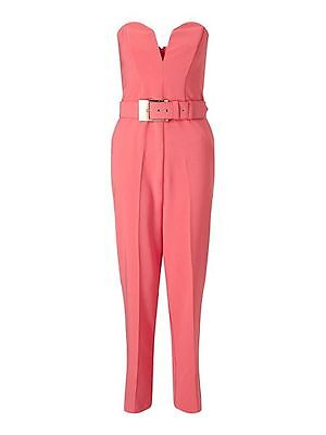 Miss Selfridge Coral Buckle Jumpsuit 10 Coral