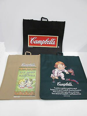 Lot of 3 Campbell's Soup Logo Sign Art Reusable Shopping Tote Bags 13x12x8. New.