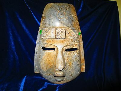 """Aztec / Mayan Stone Lg 12"""" Face Mask / Wall Hanging Marble Sculpture"""