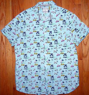** ON THE ROAD ** Awesome Motor Scooter Lambretta Vespa Print Slim Fit Shirt XL