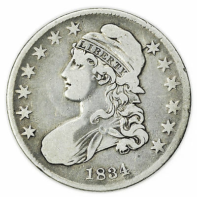 1834 Large Letters Small Date Capped Bust Half Dollar Silver Coin [3000.12]
