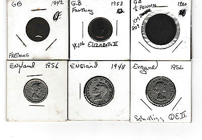 Six (6) Older Coins From The United Kingdom  1920-1956