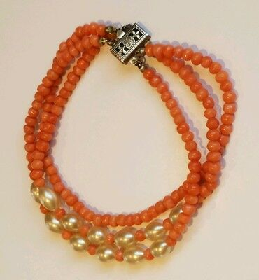Antique Chinese Pink Coral Bead & Oval Pearl 3 Strand Bracelet