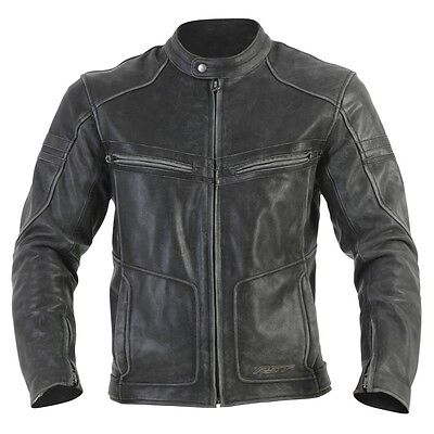 RST Roadster Classic Leather Motorcycle Jacket Black Retro Vintage - CE Armour