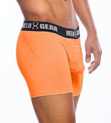 Helux Gear Pouch Boxer Briefs with Centered Easy Access Fly-Irregular Orange XXL