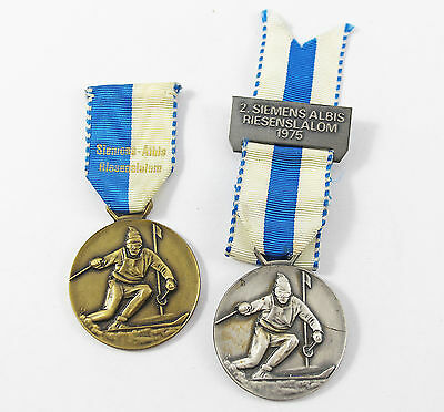 Two Vintage Old 1970's Giant Slalom Alpine Skiing Award Medals