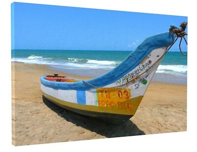 "STUNNING SEA BEACH BOAT CANVAS PICTURE WALL ART LARGE 20x30"" 1333"