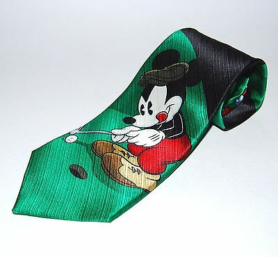 MICKEY UNLIMITED Disney Mickey Mouse & Pluto Golf Theme Necktie 100% Silk