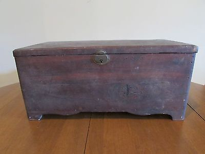 Antique Small Table Top Folk Art Box Chest-Jewelry, Sewing, Document or Storage