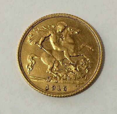 1915 Gold Half Sovereign Sydney Mint Mark