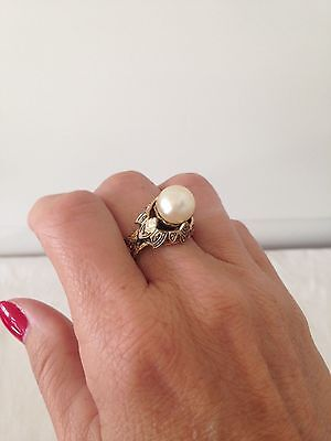 Vintage Chunky Gold Tone and Faux Pearl Cocktail Ring - SPAIN - Adjustable